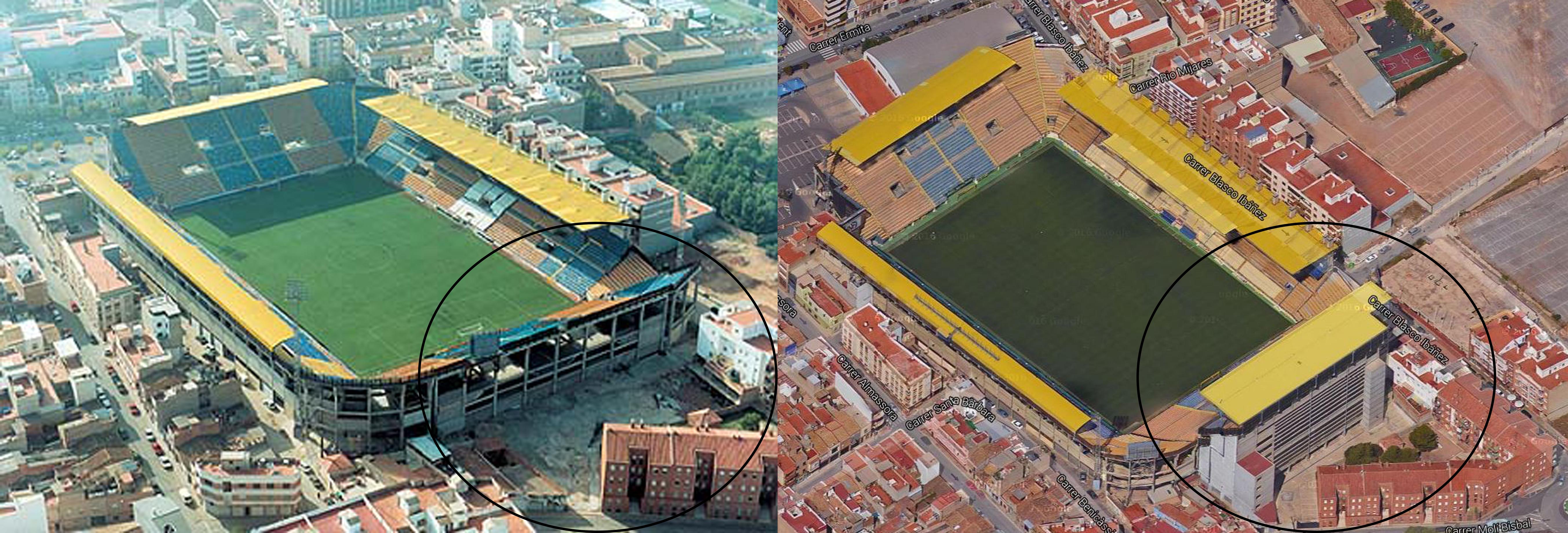 Antes y después de la grada visitante sobre el fondo norte. El estadio crece poco a poco a partir de los espacios que gana a las viviendas