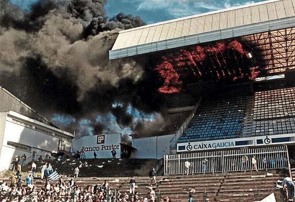 Incendio de Preferencia durante el Deportivo-Murcia