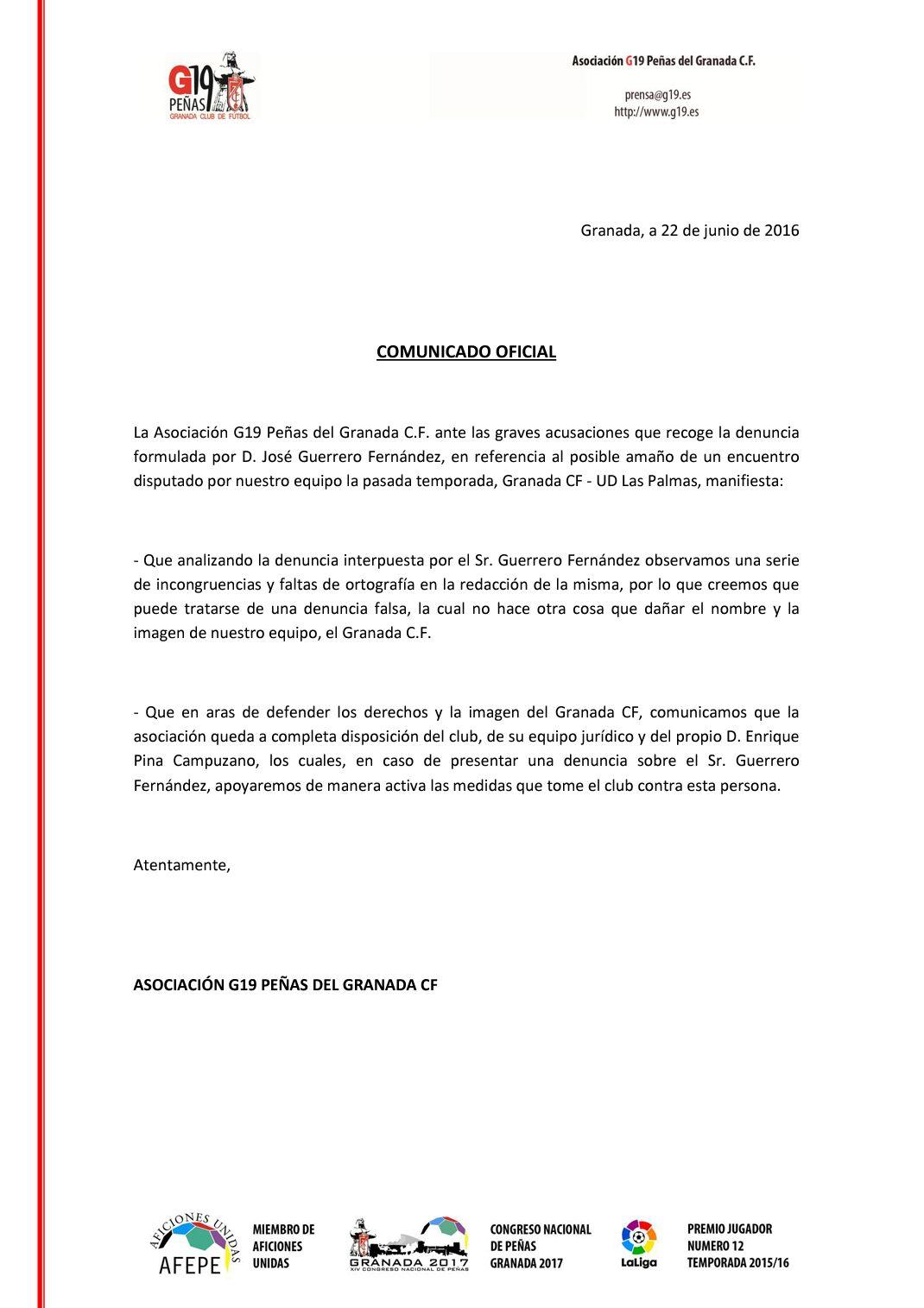 Comunicado denuncia sobre posible amaño Granada CF - UD Las Palmas