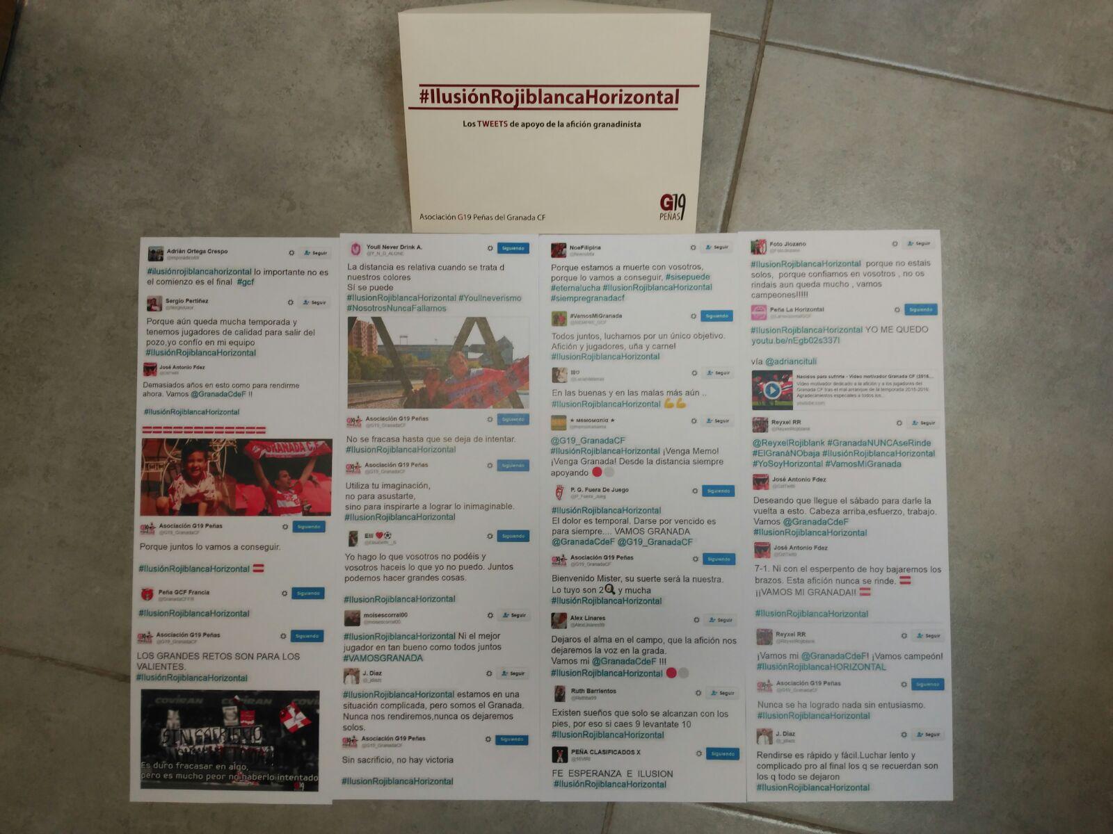 Tuits impresos entregados a los jugadores. Imagen: @G19_GranadaCF