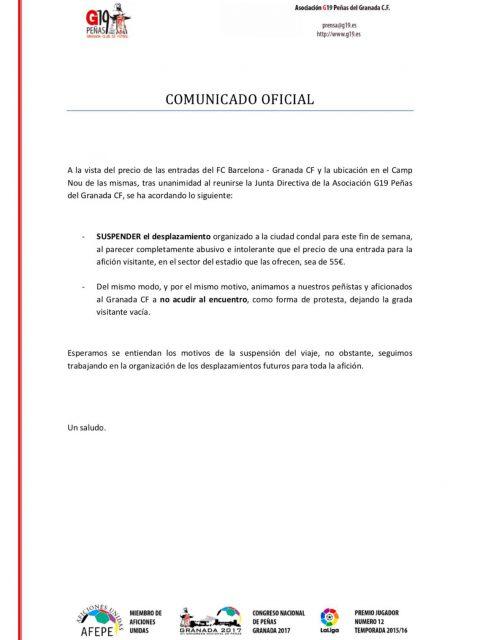 Comunicado Oficial emitido por G19